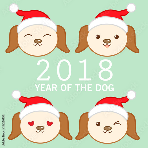chinese new year 2018 ard design with cute dog icon emoji - Chinese New Year Emoji