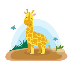 Wild animals with landscape - cute cartoon vector illustration of giraffe