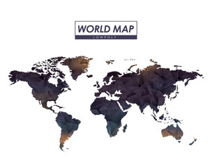 world map low polygon in colorful silhouette