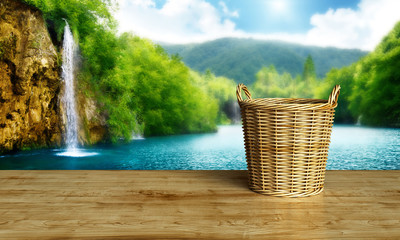 Set of wooden basket isolated on white background, 3D rendering
