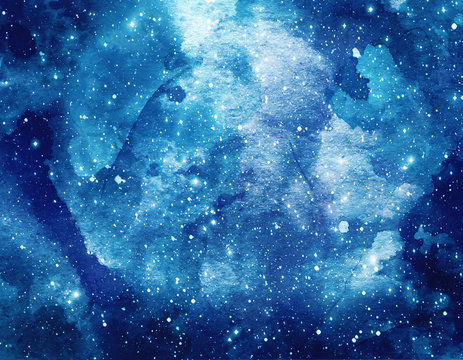 Space watercolor background. Abstract galaxy painting. Cosmic texture with stars