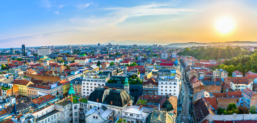 Zagreb aerial panorama cityscape. / Aerial panorama of amazing Zagreb cityscape in sunset time, european travel destinations.