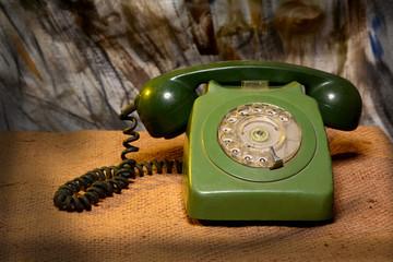 Vintage Retro Landline Phone closeup - Communication Concept