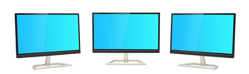 Set of three Digital Monitors view with blue screens