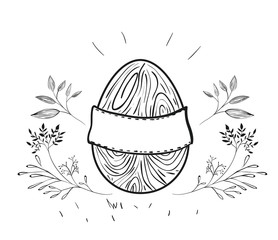 easter egg with blank placard and floral decoration in monochrome silhouette