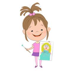 Векторная иллюстрация с изображением радостной девочки, которая держит в одной руке нарисованный рисунок принцессы, а в другой руке - кисточку с краской. Изолированное изображение.