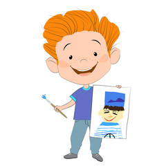 Векторная иллюстрация с изображением радостного рыжеволосый мальчика, который держит в одной руке нарисованный портрет моряка, а в другой руке - кисточку. Изолированное изображение.
