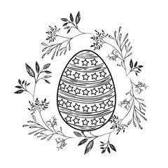 easter egg with decorative lines and stars and branches frame around in monochrome silhouette