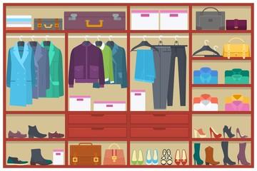 Wardrobe room full of clothes.Flat vector illustration