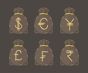 Popular Currency Symbols on Money Bags, Vector Illustrations