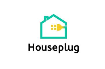 Creative House Plug Logo Design Illustration