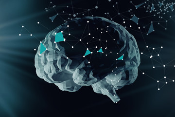 The digital brain and the grid connections of neurons. Concept of artificial intelligence