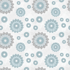 Seamless pattern with ornament of openwork lace round shapes. Geometric background with snowflake effect, pale blue and light gray. Delicate, airy, nice, soft, elegant, artistic image