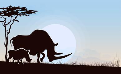 African landscape rhinoceros and her calf, vector illustration.