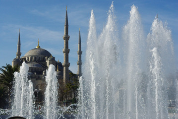 Blue mosque and fountain in Istanbul, Turkey