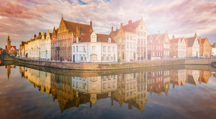 Wall Mural - Medieval buildings along a Spiegelrei canal in Bruges, Belgium