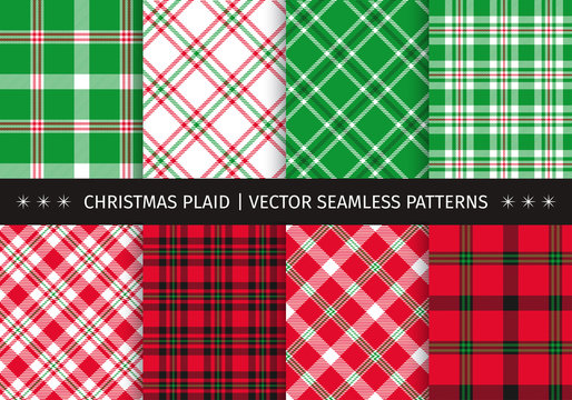 Set of christmas plaid and tartan seamless patterns. Vector backgrounds