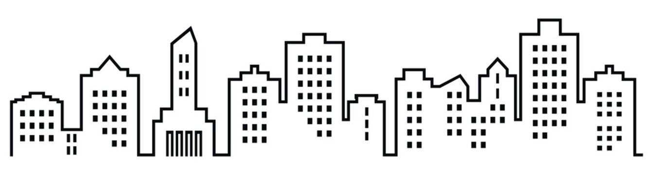Sillhouette of town, black vector icon