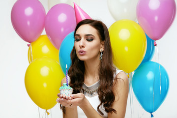Happy Birthday. Girl With Balloons And Cake At Party