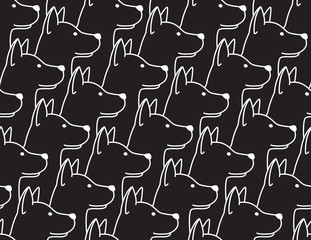 Dog Seamless Pattern vector puppy french bulldog wallpaper background isolated black