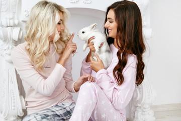 Women In Pajamas. Girls In Night Clothes Having Fun.