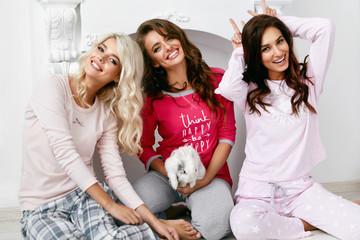 Pajama Party. Female Models In Night Clothing Having Fun
