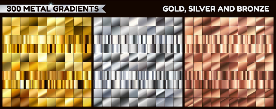 Big metal pack. Collection of gold, silver and bronze gradient for design. Vector gradients set.