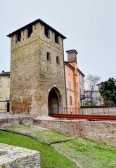 The Roman door of the ancient bridge of Saint Donnino in Fidenza, Italy.
