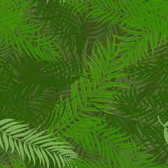 Foto op Canvas Tropische Bladeren Beautifil Palm Tree Leaf Silhouette Seamless Pattern Background Vector Illustration