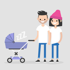 Young family walking with a baby carriage. Mother and father. A couple with a child. Flat editable vector illustration, clip art