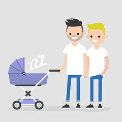 Gay family walking with a baby carriage. LGBT. Fathers. Homosexual couple with a child. Flat editable vector illustration, clip art