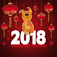 Symbol of the Chinese New Year 2018. Year of the dog. Design for greeting cards, calendars, banners, posters, invitations.