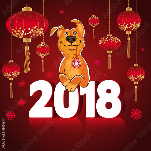 symbol of the chinese new year 2018 year of the dog design for greeting cards calendars banners posters invitations stock image and royalty free