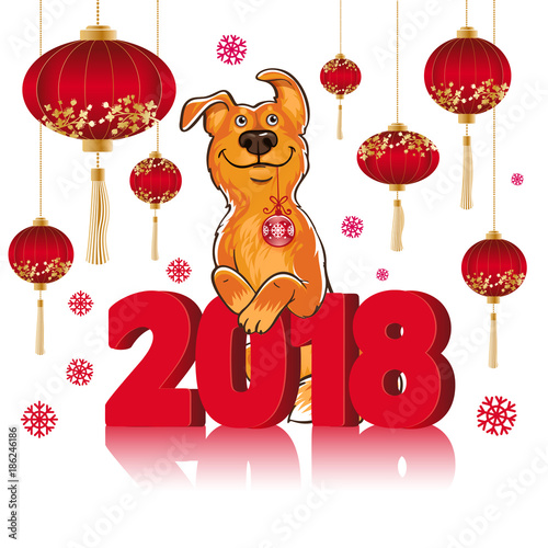 symbol of the chinese new year 2018 year of the dog design for greeting