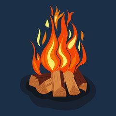 Bonfire, burning wood pile. Camping fire icon. Vector picture.