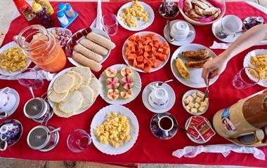 Cuban colorful breakfast