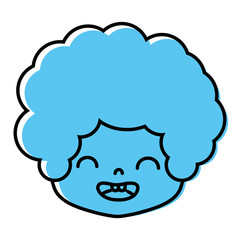 color boy head with curly hair and smile face
