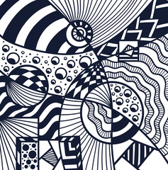 Abstract Cosmos background pattern in Memphis or Zendoodle style black on white for coloring page or adult relax coloring book or for decoration package or for wallpaper and other things