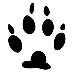 Dog track black icon, logo, silhouette isolated on white background. Paw print. Vector illustration.