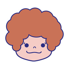 colorful boy head with curly hair and happy face
