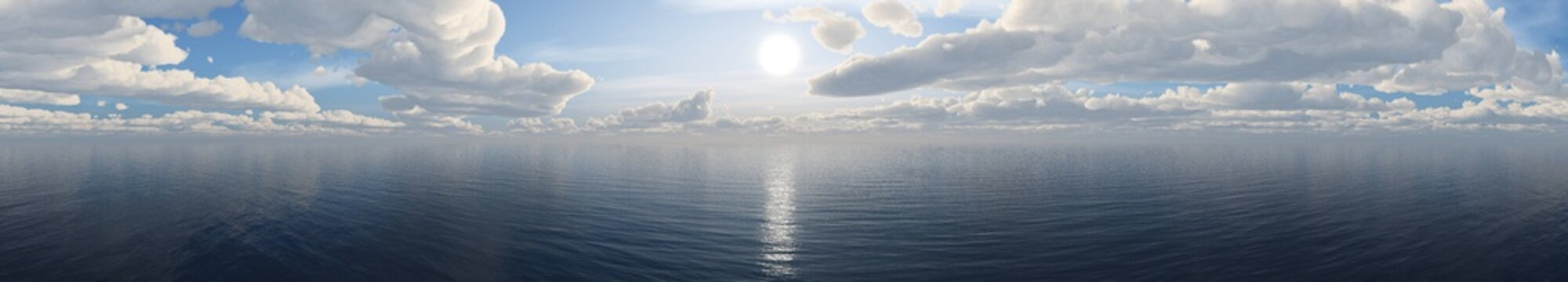 panorama of the sea sunset. the sun over the water under the sky with clouds. banner.