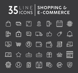 Vector set of Online shopping modern flat thin icons. E-commerce line icons set. E-commerce and shopping vector icons set on black background. Outline web icons set vector illustration