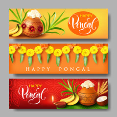 Banners design for Indian harvest festival Pongal (Makar Sankranti). Vector set.