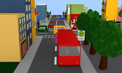 Gefahrensituation um eine Haltestelle für einen Schulbus mit Bus und Kind was dahinter hervor rennt.