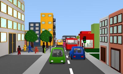 Verkehrsszene vor einer Schule.