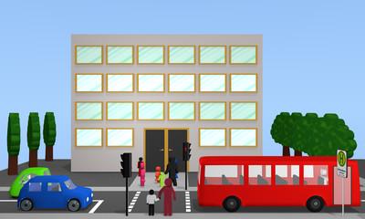 Verkehrs Szene vor einer Schule mit Fußgängerampel.