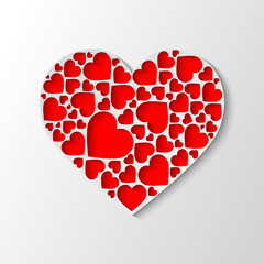 Beautiful white paper heart with cut out red hearts. Vector illustration