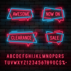 Neon light linear promotion ribbon banner, price tag, discount