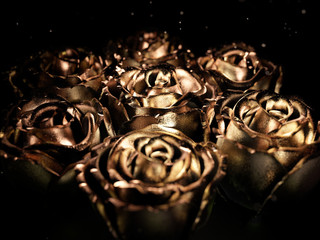 Gold black flower rose on a black background . 3d render