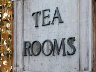 Tea Rooms marble signboard entrance